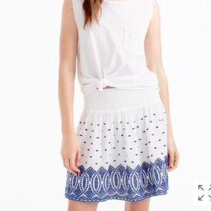 J crew embroidered gauze eyelet mini skirt